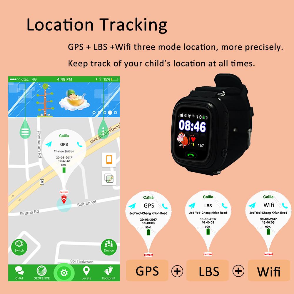 74306e5f3d4 Gps q90 smartwatch touch skærm, wifi positionering børn smart armbåndsur  locator pk q50 q60 q80