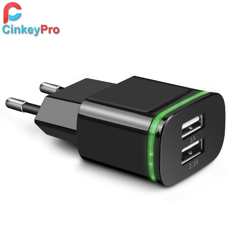 Cinkeypro eu kontakt 2 portar led ljus usb laddare 5v 2a vägg adapter mobiltelefon micro data laddning för iphone, ipad samsung