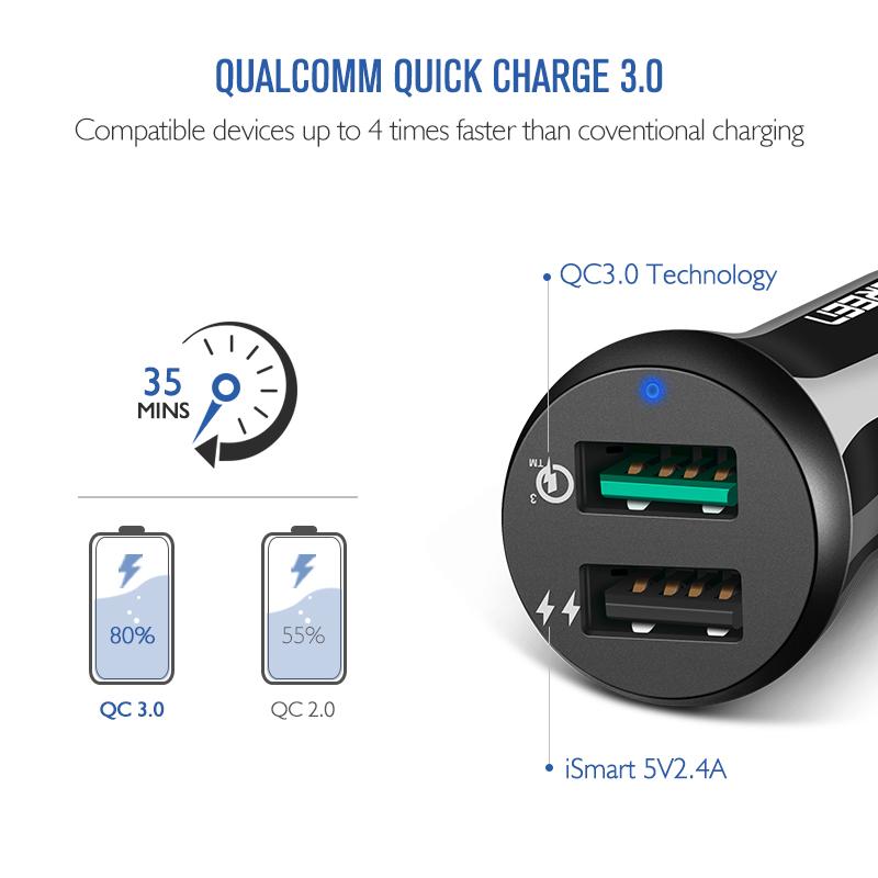 Ugreen bil usb laddare för snabbladdning 3.0 mobiltelefon laddare med dubbla usb snabb qc 3.0 billaddare för samsung xiaomi tablett laddare