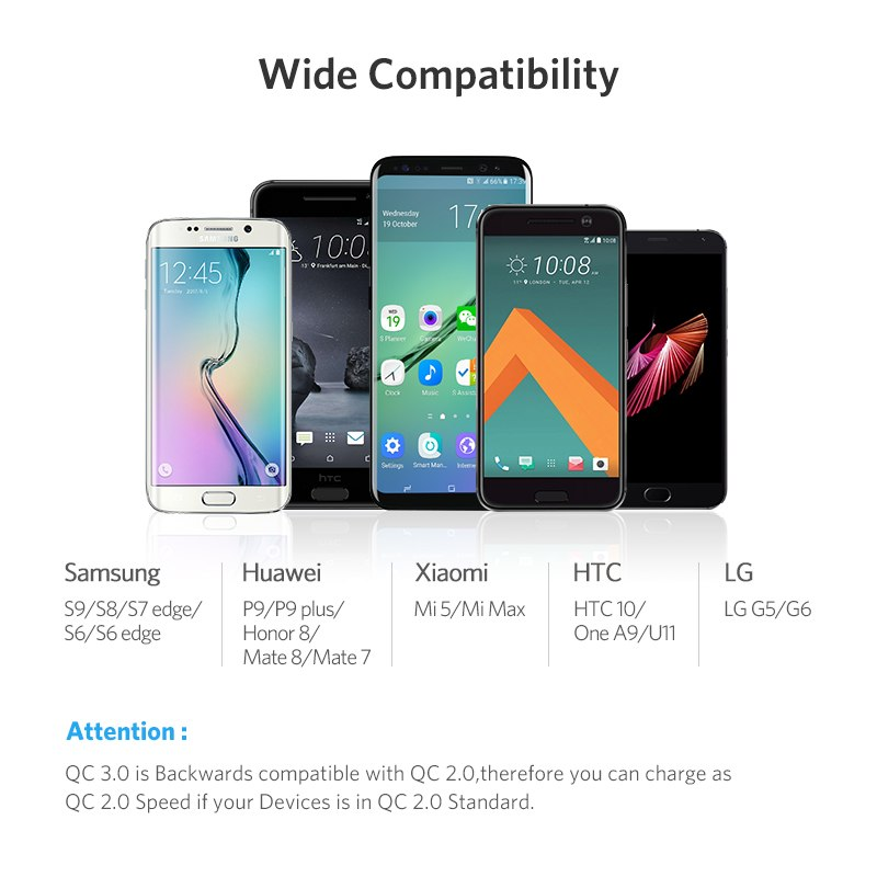 Ugreen usb laddare 18w snabbt ladda 3.0 mobiltelefon laddare för iphone snabbt qc 3.0 laddare för huawei samsung galaxy s9+ s8+