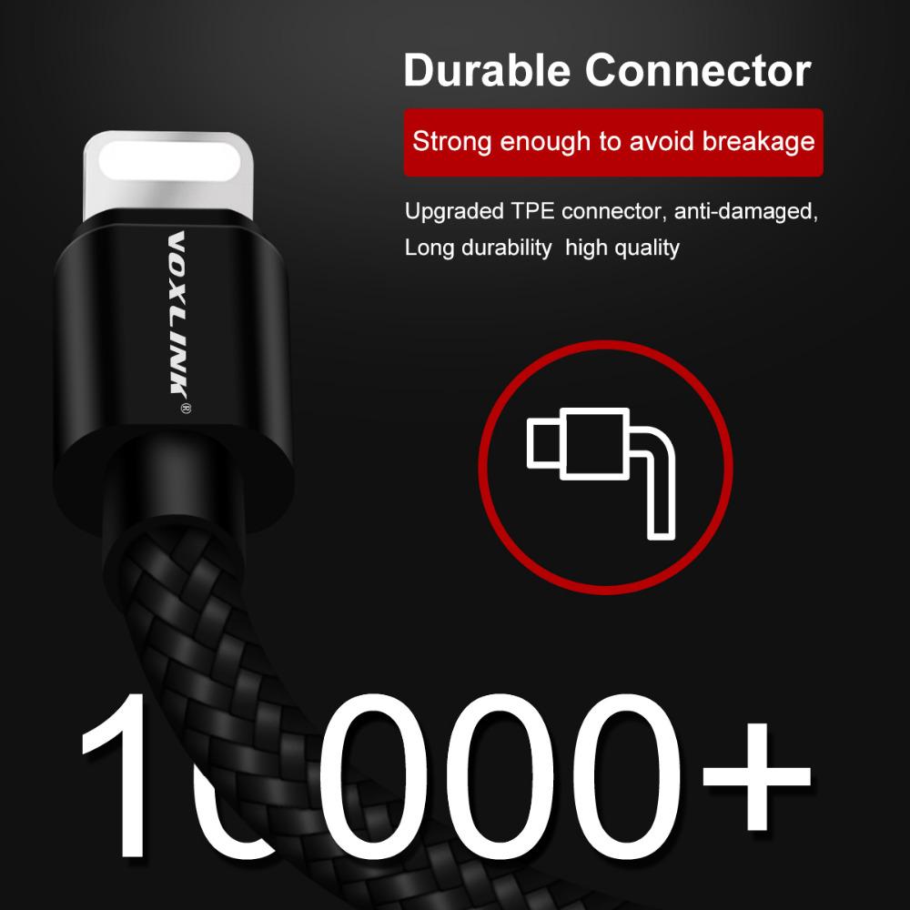 Voxlink lightning till usb kabel snabb laddare adapter ursprungliga usb kabel för iphone 7 6 s plus 5 5s ipad mini mobiltelefon kablar