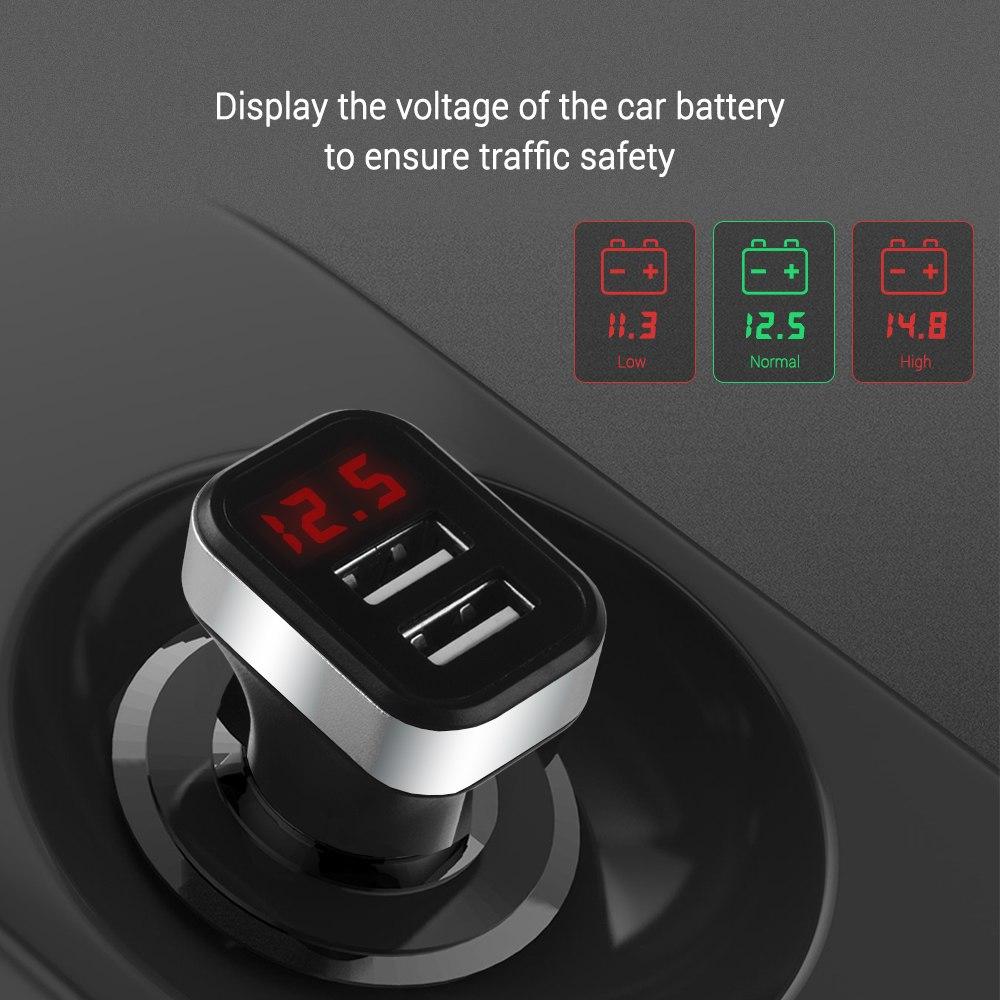 5v usb bil laddare med led tv med smart auto billaddare adapter för laddning för iphone 7 samsung xiaomi bil mobiltelefon laddare