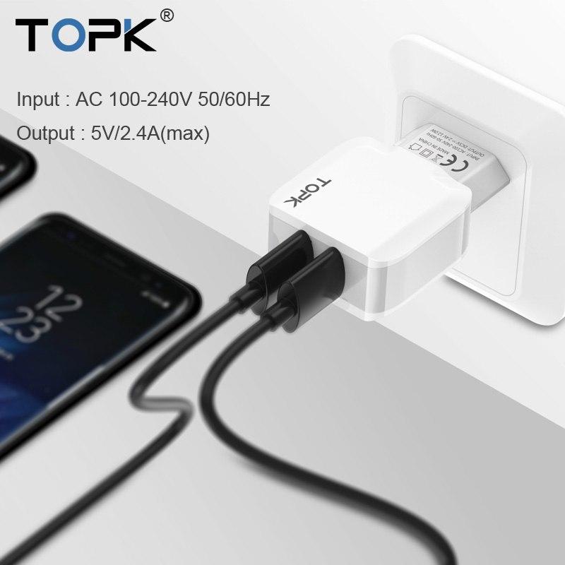 Topk 5v 2.4 en smart travel dubbel usb laddare adapter väggen bärbara eu kontakt mobiltelefon laddare för iphone samsung xiaomi tablett