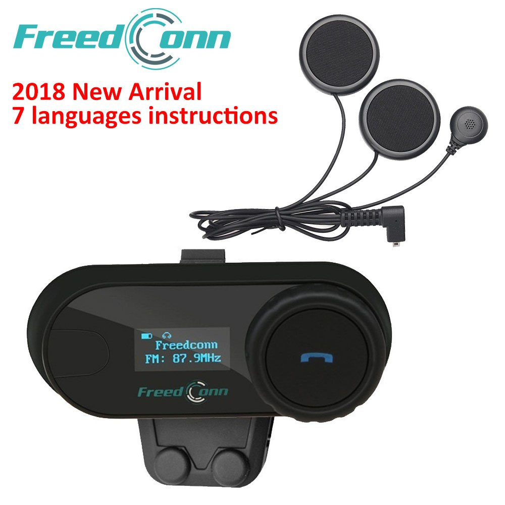fb4ed36b1 Freedconn 2018 tcom-sc bt interphone motorsykkel hjelm trådløs hodetelefon  med bluetooth intercom med lcd-fm-radio myk hodetelefon